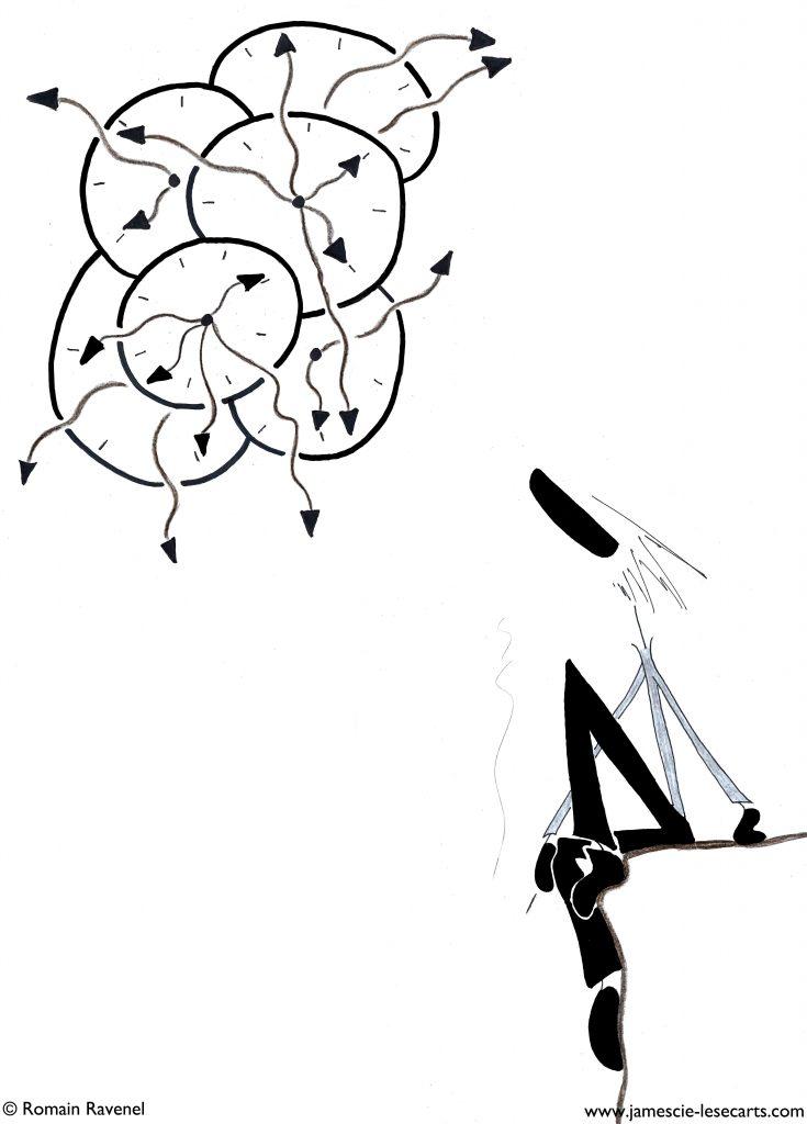Temps décortiqué, James, les écarts, les écarts de James, james et cie, james & cie, james et compagnie, james et cie les écarts, james & cie les écarts, james et compagnie les écarts, poésie, dessin, personnage, personnage dessiné, illustration, Romain Ravenel, écriture, récit,