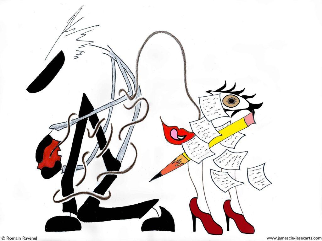 Plume des plaisirs liants, James, les écarts, les écarts de James, Romain Ravenel, james et cie, james & cie, james et compagnie, james & cie les écarts, james et compagnie les écarts, james et cie les écarts, illustration, dessin, personnage, personnage dessiné, illustrateur, poésie, écriture, récit,