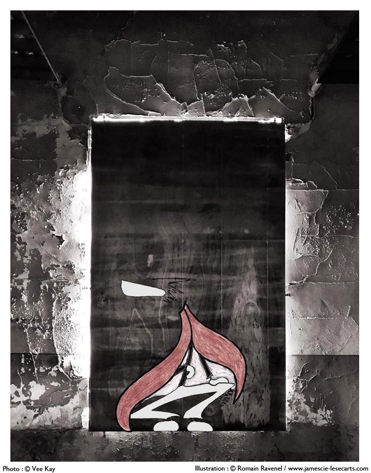 """""""Appar-être"""" : l'oeuvre du temps, James, U4 Haut Fourneau d'Uckange, Uckange, les écarts, les écarts de James, james et cie, james & cie, james et compagnie, james et cie les écarts, james et compagnie les écarts, james & cie les écarts, Veekay, collaboration artistique, Romain Ravenel, dessin, illustration, graphisme, personnage, personnage dessiné, poésie, poésie visuelle, écriture, récit, lorraine, usine, urbex,"""