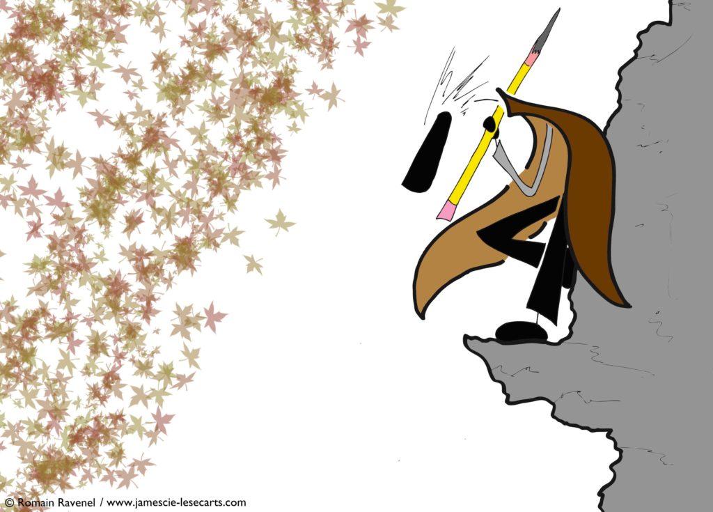 La corniche et la feuille, James, les écarts, les écarts de james, dessins, illustration, personnage, personnage dessiné, Romain Ravenel, écriture, poésie, récit, james et cie, james & cie, james et compagnie, james et cie les écarts, james & cie les écarts, james et compagnie les écarts,