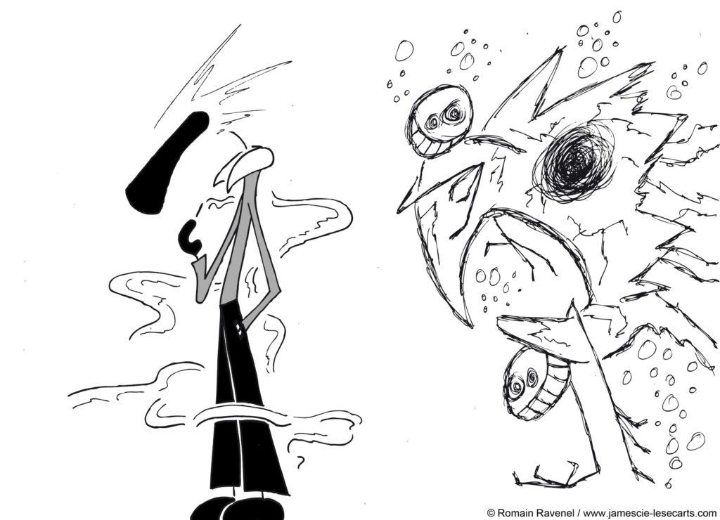 Brouillard et Fantaisie #2, James, les écarts, james et cie, james et compagnie, james & cie, james et compagnie les écarts, james et cie les écarts, james & cie les écarts, dessin, illustration, personnage dessiné, poésie, écriture, récit, auteur, Romain Ravenel,